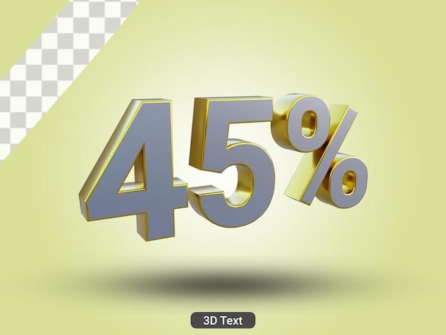 3dレンダリングされた45パーセントの3dテキスト