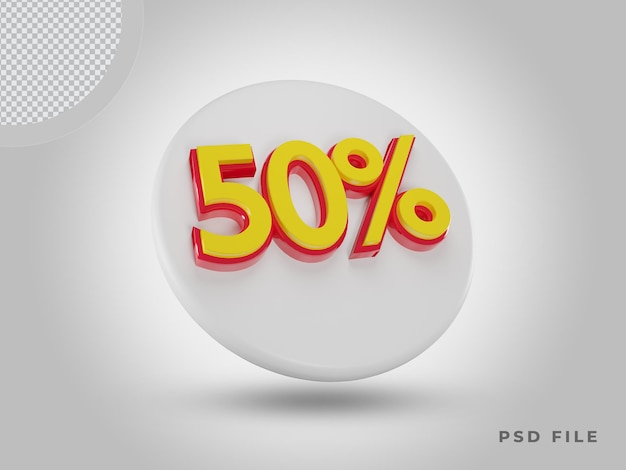 3d-рендеринг 50-процентной цветовой иконки с помощью premium psd