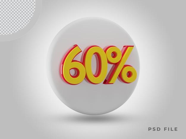 프리미엄 psd가 있는 3d 렌더링 60% 측면 보기 색상 아이콘