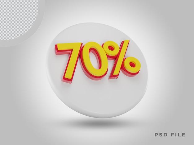 프리미엄 psd가 있는 3d 렌더링 70% 색상 아이콘