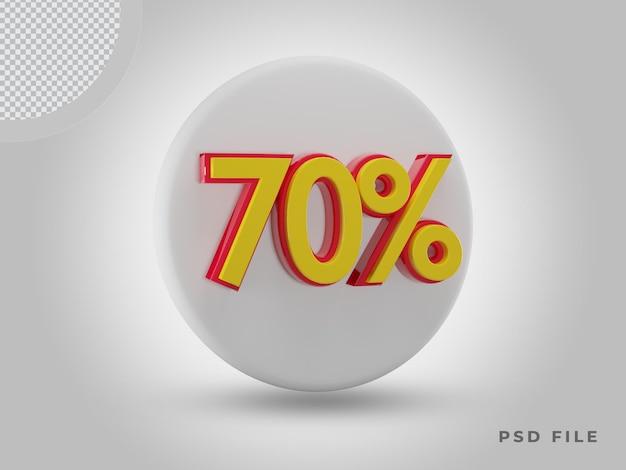 프리미엄 psd가 있는 3d 렌더링 70% 측면 보기 색상 아이콘