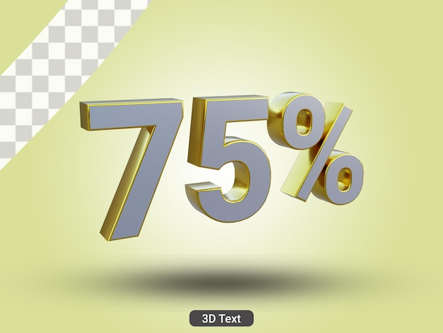 3dレンダリングされた75パーセントの3dテキスト