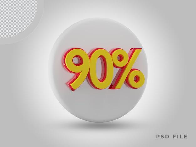 3d 렌더링 90% 측면 보기 색상 프리미엄 psd가 있는 아이콘