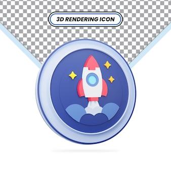 별과 공간 아이콘이 있는 3d 렌더링된 파란색 로켓