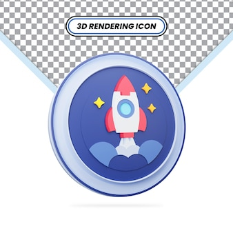 3d rendered blue rocket with stars and space icon