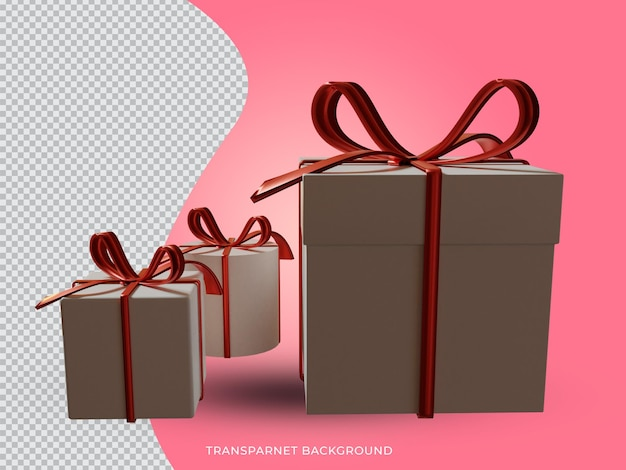 투명 한 배경 다시 경쟁에서 3d 렌더링 된 크리스마스 선물 상자
