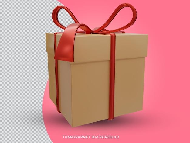 투명 한 배경에서 3d 렌더링 된 크리스마스 선물 상자