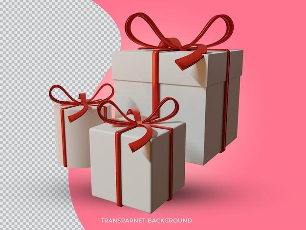 3d 렌더링된 크리스마스 선물 상자 투명 배경 전면 보기 설정