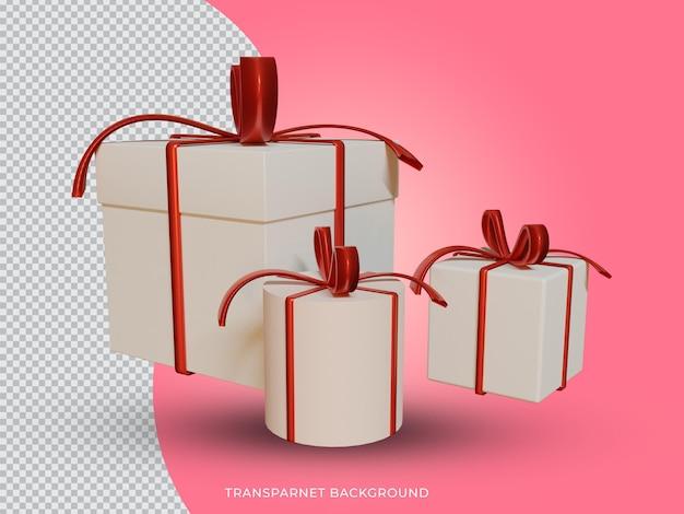 투명 한 배경에서 설정 3d 렌더링 된 크리스마스 선물 상자