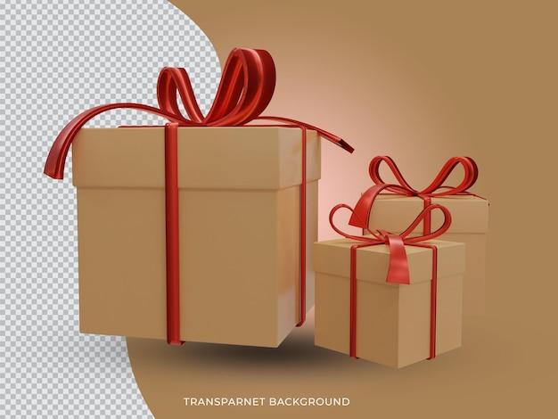 투명 한 배경 전면 경쟁에서 3d 렌더링 된 크리스마스 황금 선물 상자