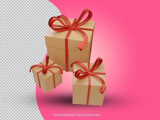 투명 배경 상위 뷰에서 3d 렌더링된 크리스마스 황금 선물 상자