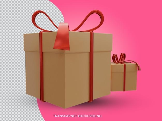 투명 한 배경에서 3d 렌더링 된 크리스마스 황금 선물 상자