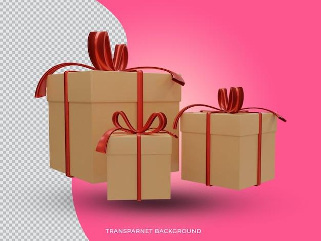 투명 한 배경에서 설정 3d 렌더링 된 크리스마스 황금 선물 상자