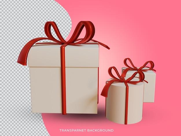투명 한 배경 전면 경쟁에서 3d 렌더링 된 크리스마스 흰색과 빨간색 선물 상자