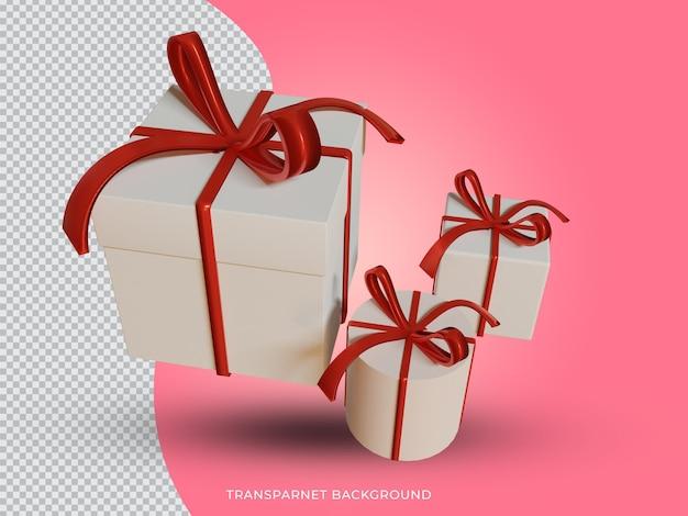 투명 한 배경에서 3d 렌더링 된 크리스마스 흰색과 빨간색 선물 상자