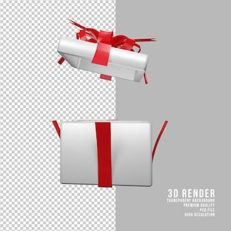 투명 배경 전면 보기와 3d 렌더링된 크리스마스 흰색 선물 상자