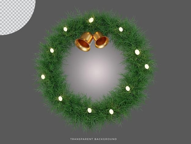 ベルの透明な背景の正面図で3dレンダリングされたクリスマスリース
