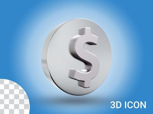 3d визуализации дизайн иконок знак доллара вид слева