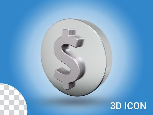 3d визуализированный дизайн иконок знак доллара, вид справа