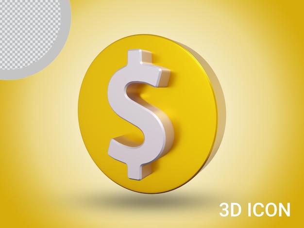3d визуализации знак доллара значок дизайн вид сбоку