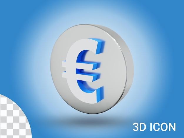3d визуализированный дизайн иконок евро, вид справа