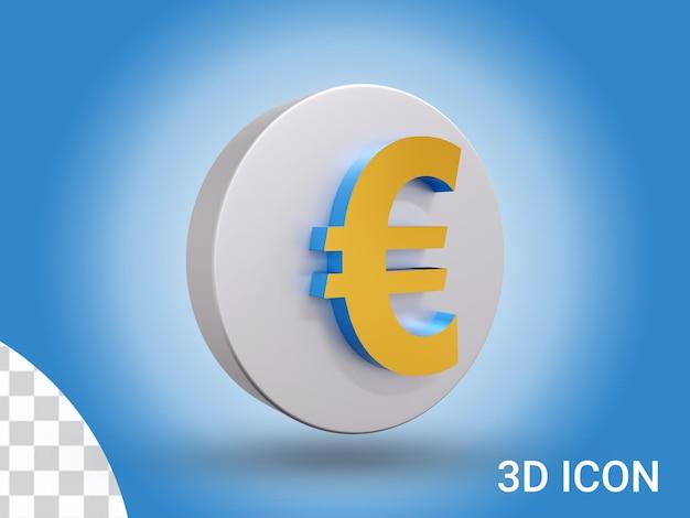 3d визуализации вид сбоку дизайн значка евро