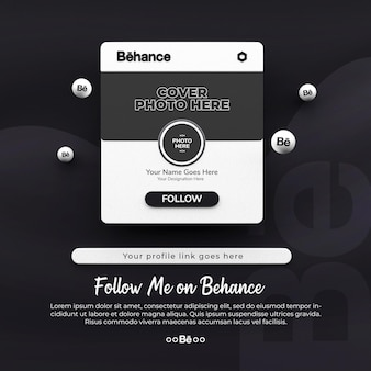 3d rendered follow me on behance social media post mockup
