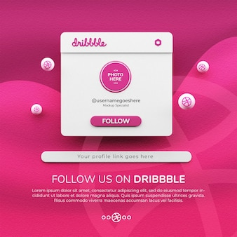 3d 렌더링 dribbble 소셜 미디어 게시물 모형에서 우리를 따르십시오