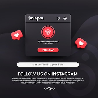 3d 렌더링은 instagram에서 어두운 모드로 우리를 따르십시오. 소셜 미디어 게시물 모형