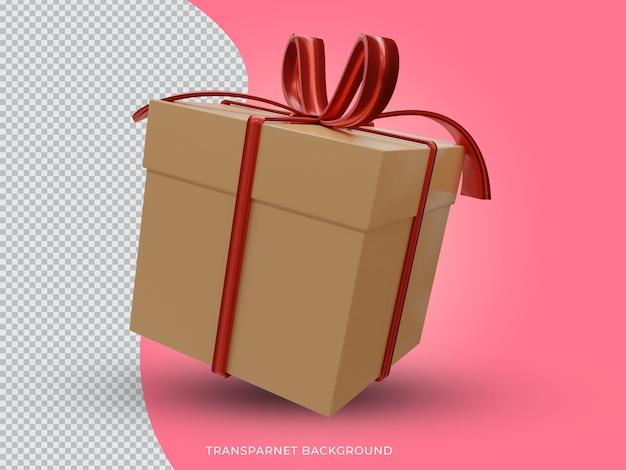 투명 한 배경에서 3d 렌더링 된 고품질 크리스마스 황금 선물 상자