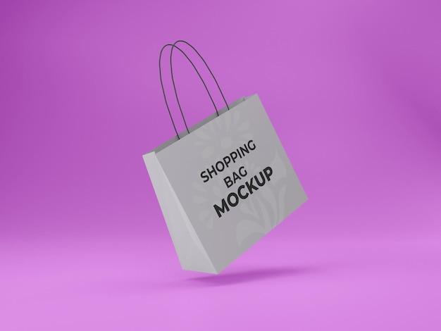 분홍색 배경이 있는 3d 렌더링된 고품질 맞춤형 쇼핑백 모형