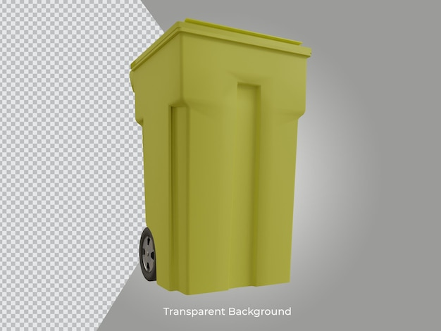 3dレンダリングされた高品質のゴミ箱の透明なアイコンの正面図