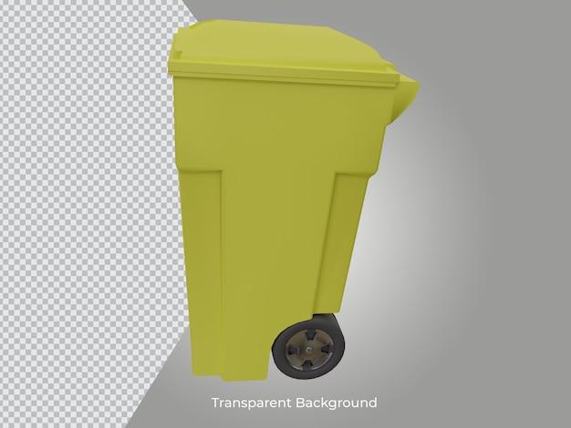 3dレンダリングされた高品質のゴミ箱の透明なアイコンの側面図