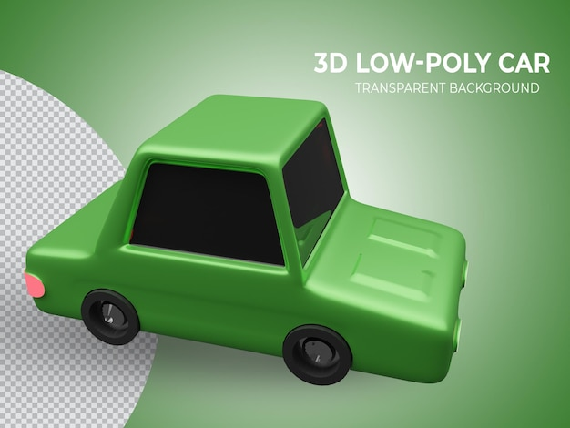 3d 렌더링 된 고품질 녹색 lowpoly 애니메이션 자동차 측면보기