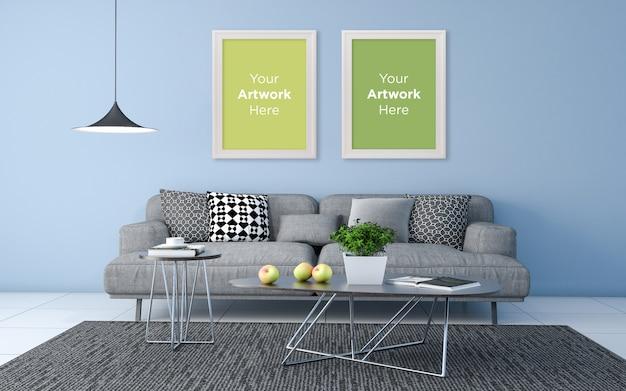 3d rendered of interior of modern living room empty photo frame mockup design