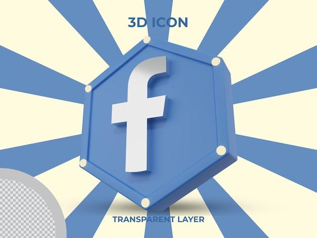 3d визуализация изолированных значок facebook