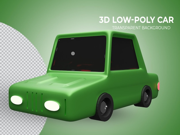 3d 렌더링 된 고립 된 고품질 녹색 lowpoly 애니메이션 자동차