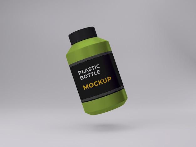 3d-рендеринг изолированных пластиковых бутылок с дизайном макета