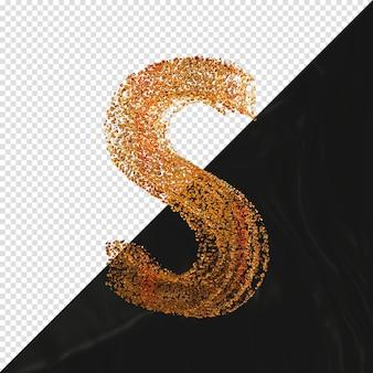 3d визуализации буква s со стеклянными частицами