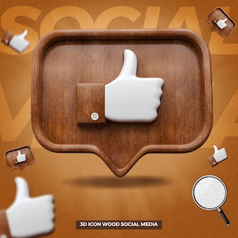 3d rendered like facebook icon in front wooden balloon message