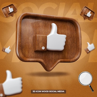 3d rendered like facebook icon in left wooden balloon message