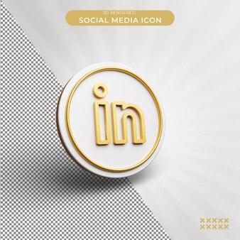 3d 렌더링 된 linkedin 소셜 미디어 아이콘 개념