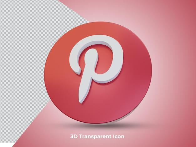 3d 렌더링된 pinterest 아이콘 전면 보기