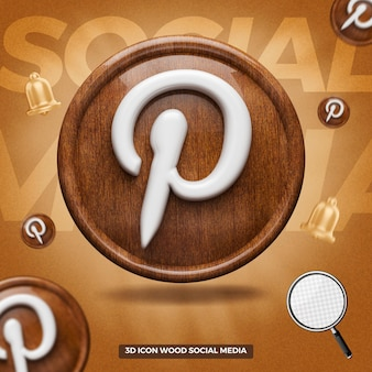 3d rendered pinterest icon in front wooden circle