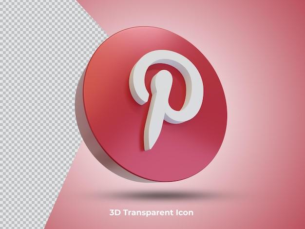 3d 렌더링된 Pinterest 아이콘 프리미엄 PSD 파일