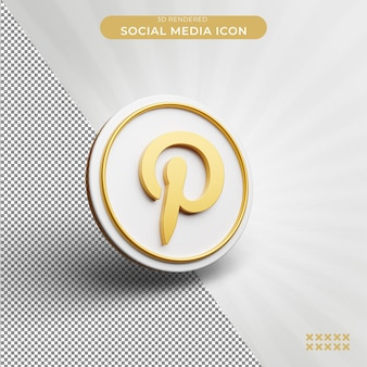3d 렌더링된 pinterest 소셜 미디어 아이콘 개념