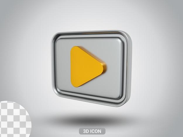3d 렌더링된 플레이 기호 아이콘 디자인 측면 보기