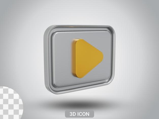 3d 렌더링 플레이 사인 아이콘 디자인