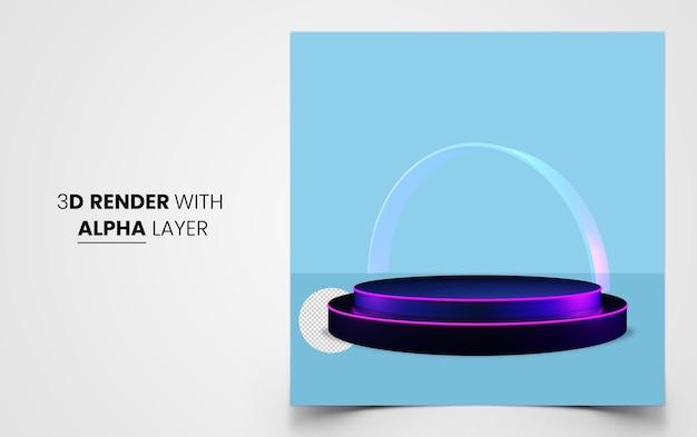 제품 쇼케이스 premium psd를 위한 3d 렌더링된 연단