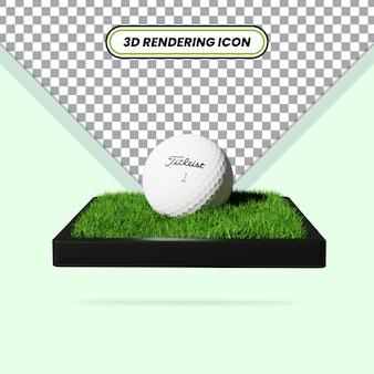3d визуализация реалистичный мяч для гольфа на траве значок